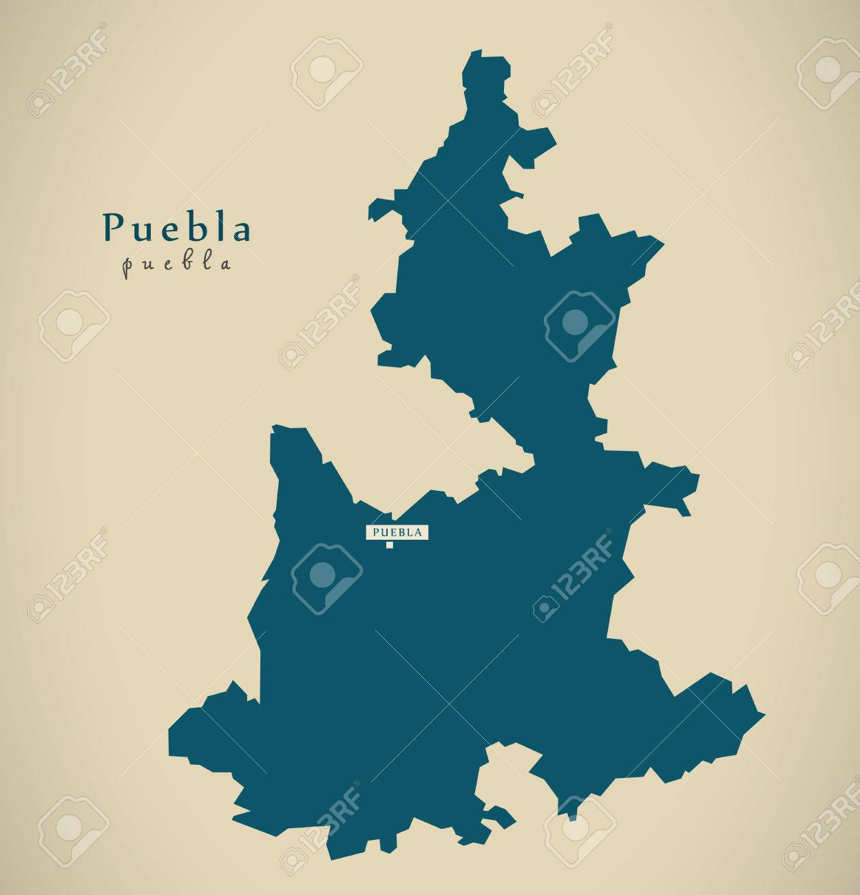 Modern Map Puebla Mexico Mx Illustration Stock Photo Picture And