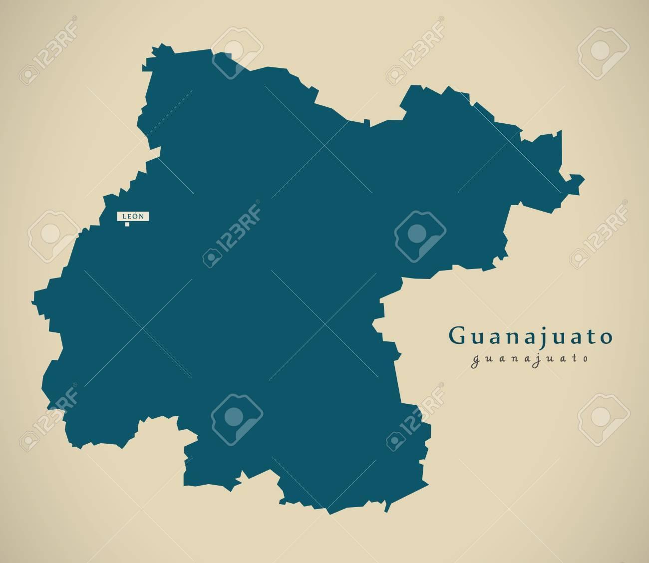 Mexico Map Guanajuato.Modern Map Guanajuato Mexico Mx Illustration Stock Photo Picture