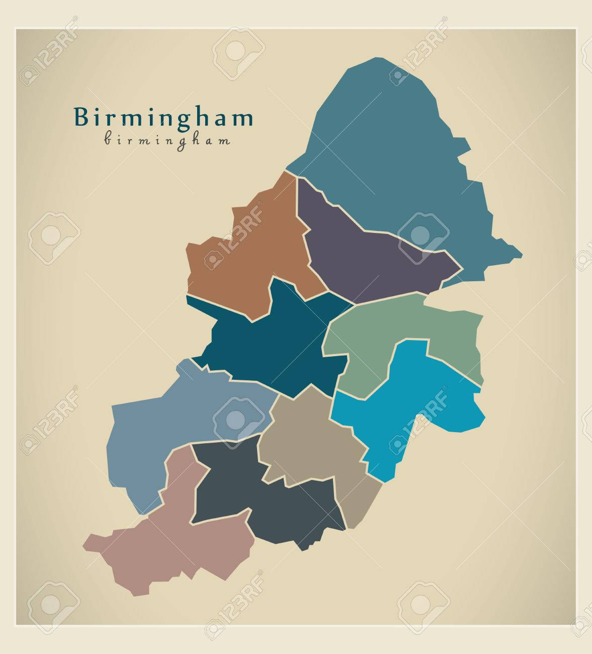 Map Of England Birmingham.Modern City Map Birmingham With Boroughs Coloured England Illustration