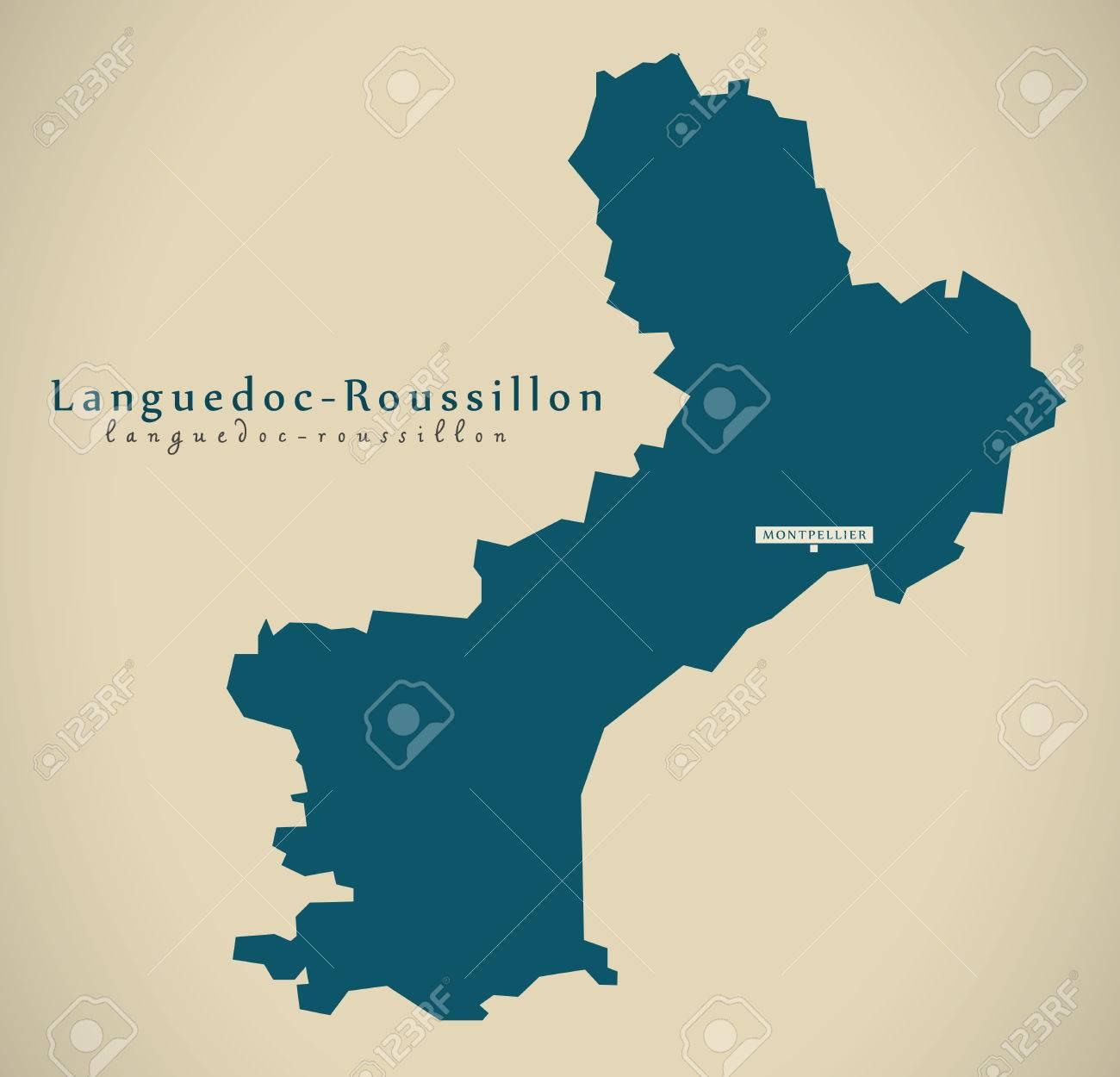 Roussillon France Map.Modern Map Languedoc Roussillon France Fr Illustration Stock Photo
