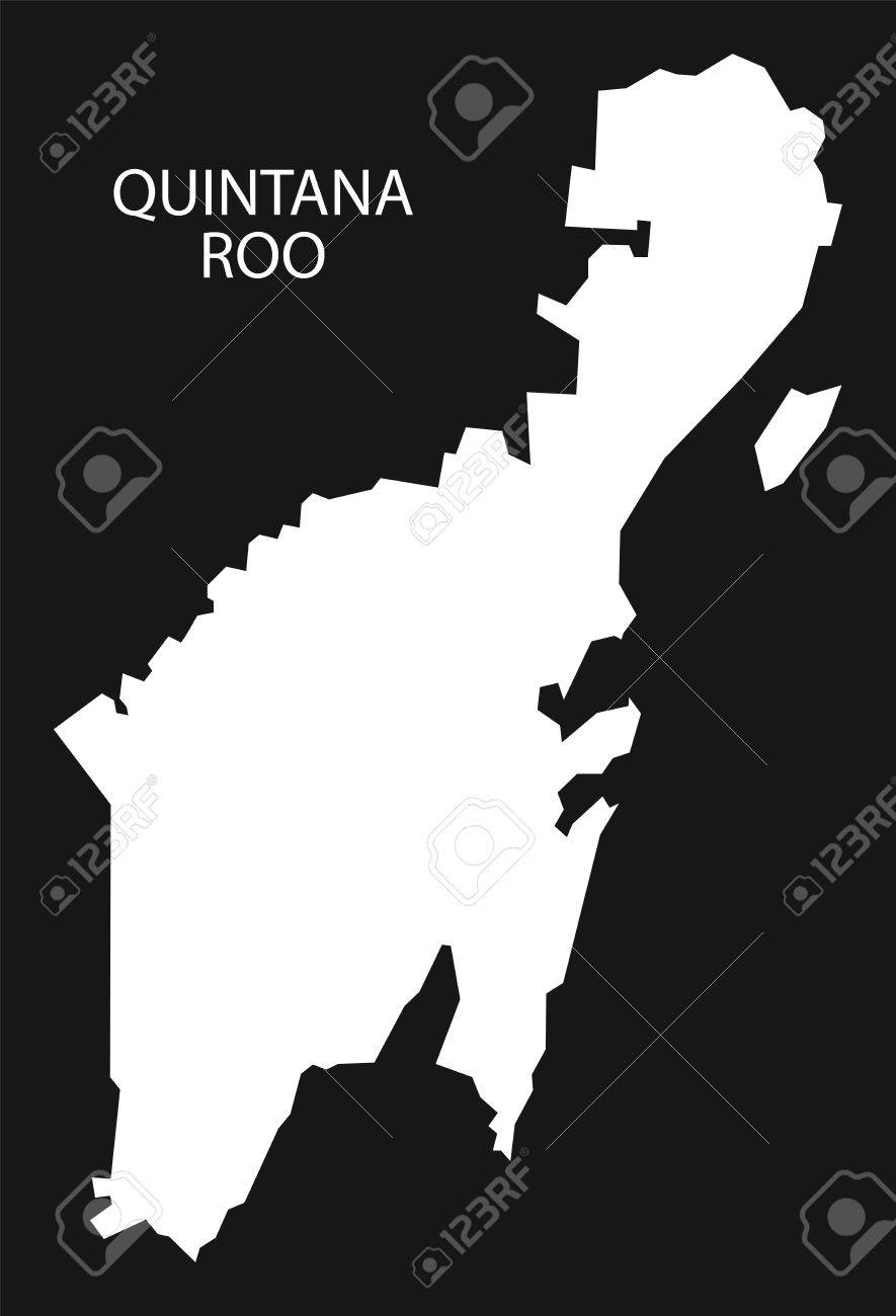 Quintana Roo Mexico Map Black Inverted Silhouette Royalty Free