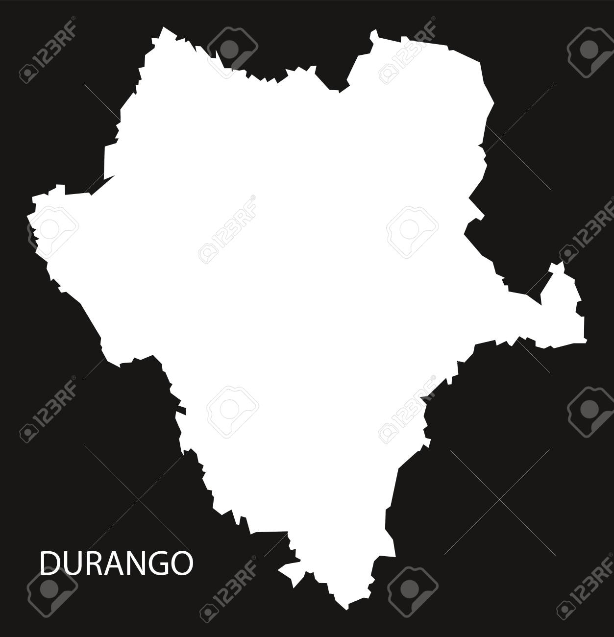 Durango Mexico Map Black Inverted Silhouette Royalty Free Cliparts on