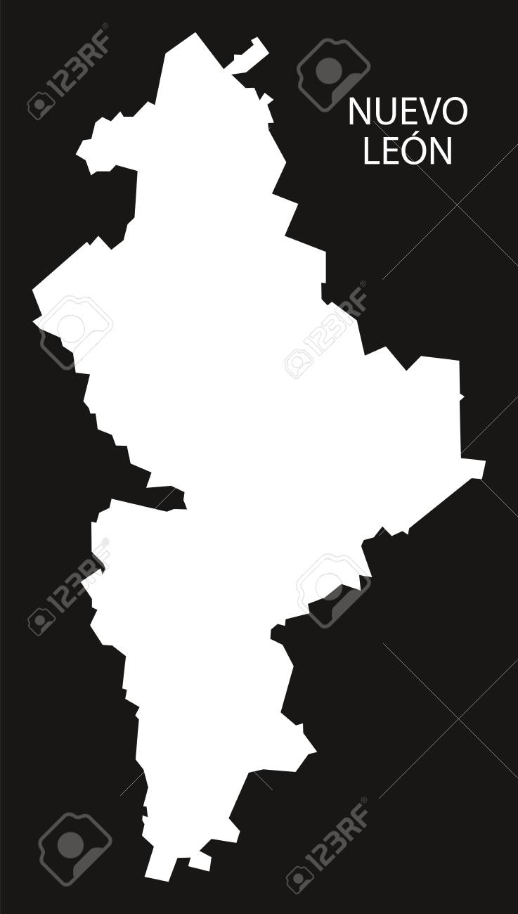 Nuevo Leon Mexico Map Black Inverted Silhouette Royalty Free