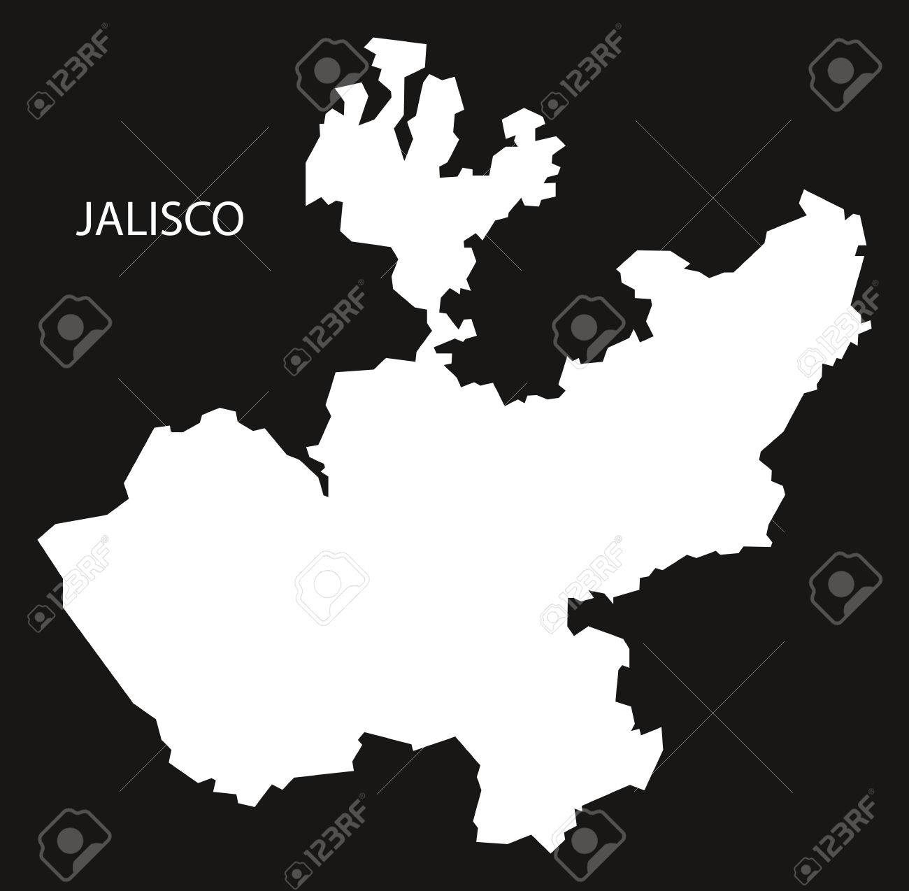 Jalisco Mexico Map Black Inverted Silhouette Royalty Free Cliparts on
