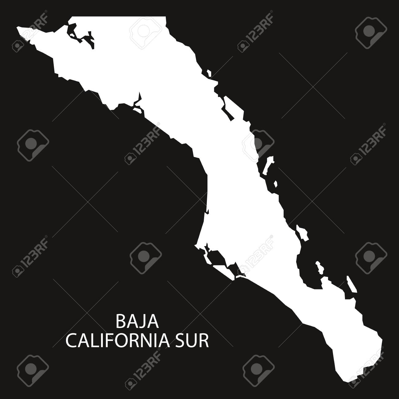 Baja California Sur Mexico Map Black Inverted Silhouette Royalty