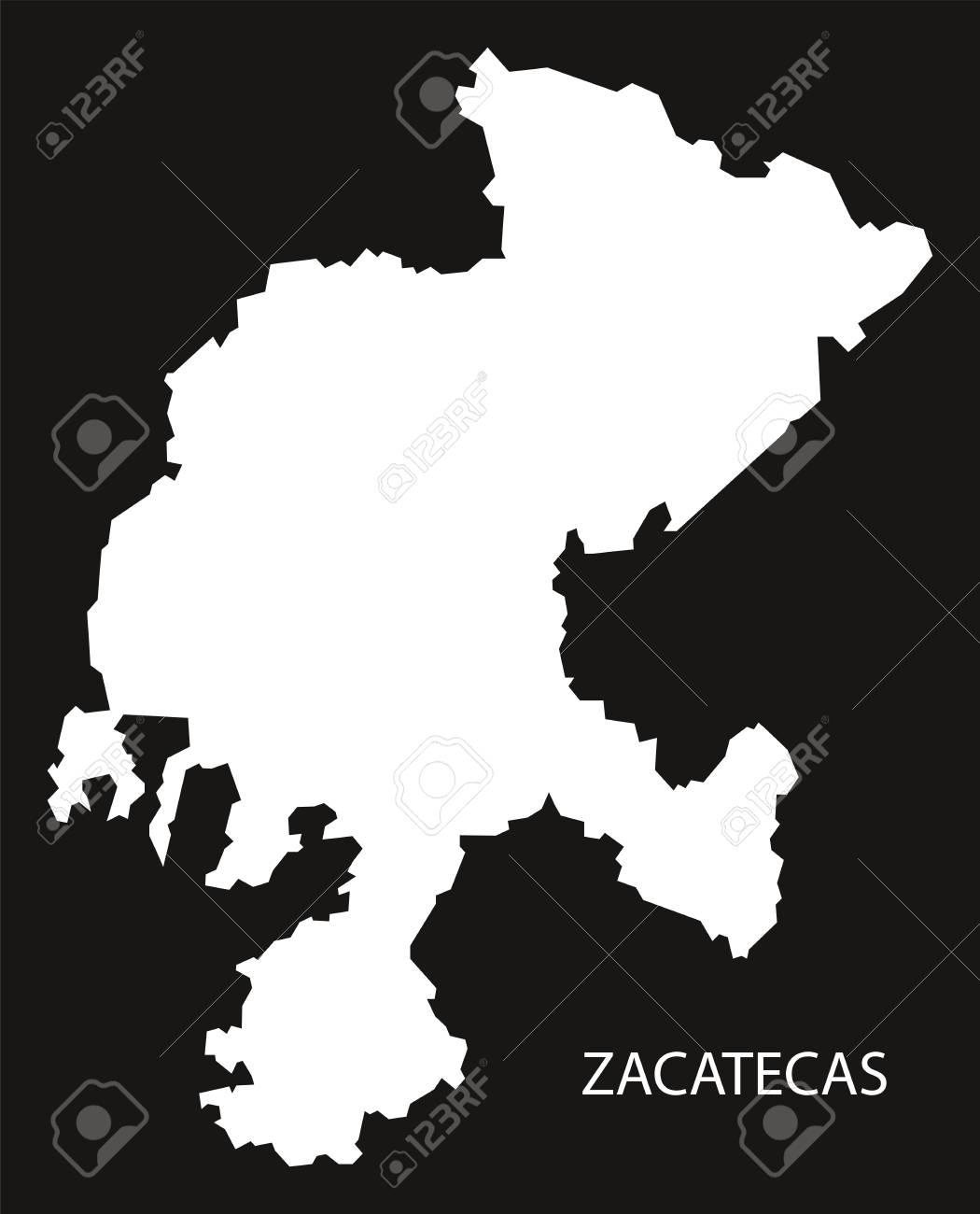 Zacatecas Mexico Map Black Inverted Silhouette Royalty Free
