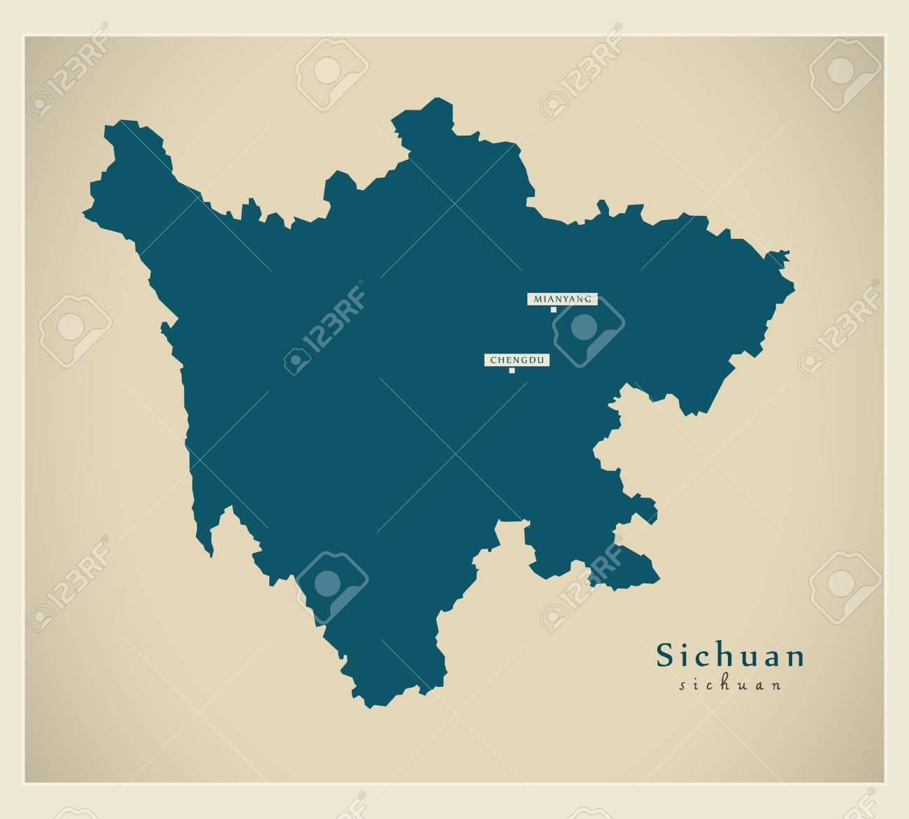 Modern Map - Sichuan CN region illustration silhouette - 73293057