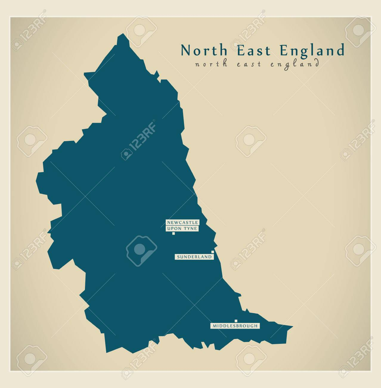 Map Of East Uk.Modern Map North East England Uk Refreshed Design