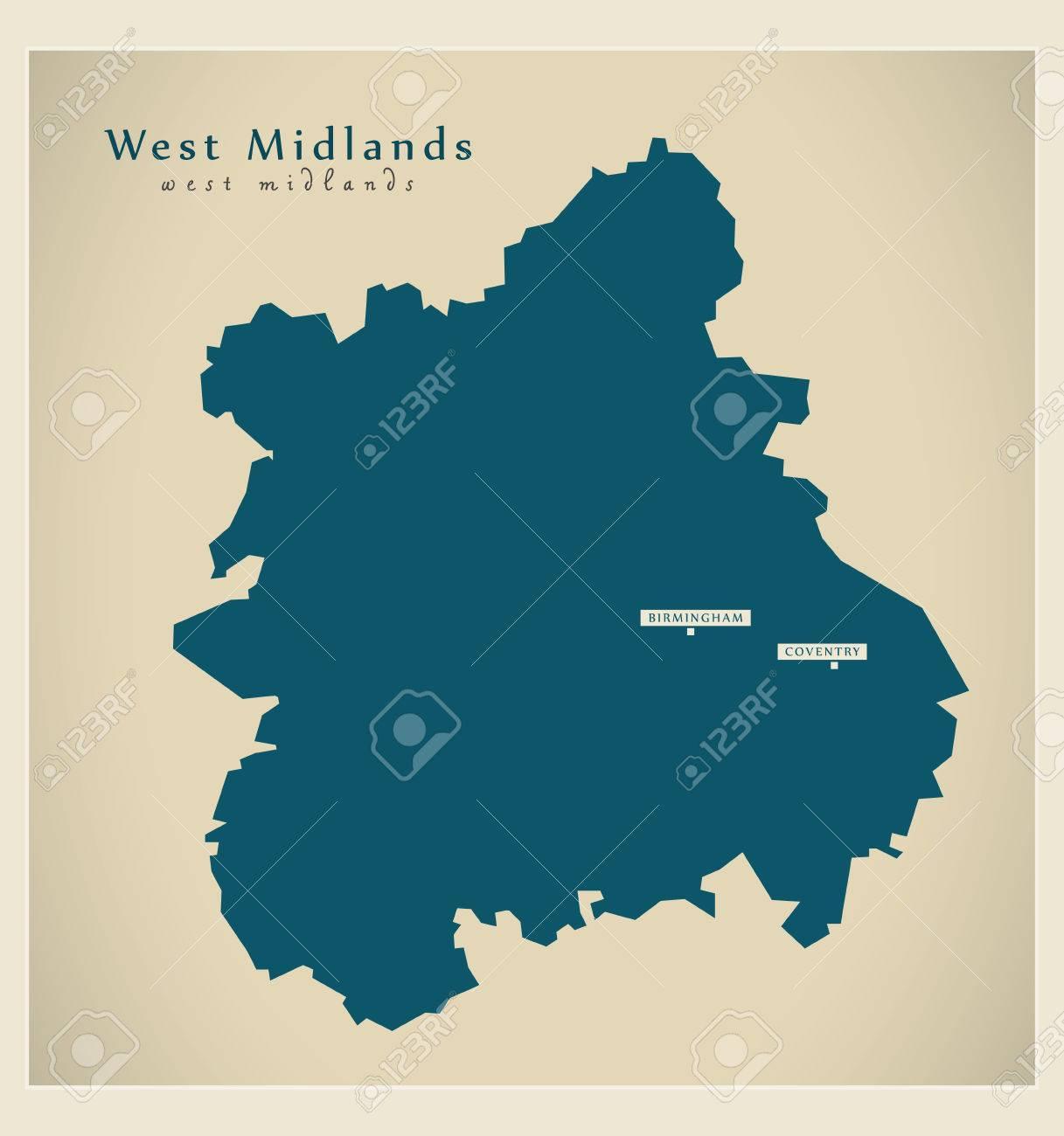 Modern Map - West Midlands UK refreshed design - 74504696