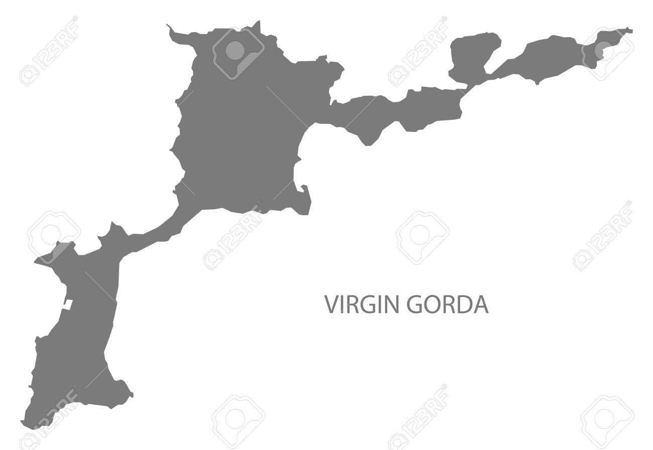 vector virgin gorda british virgin islands map grey illustration silhouette