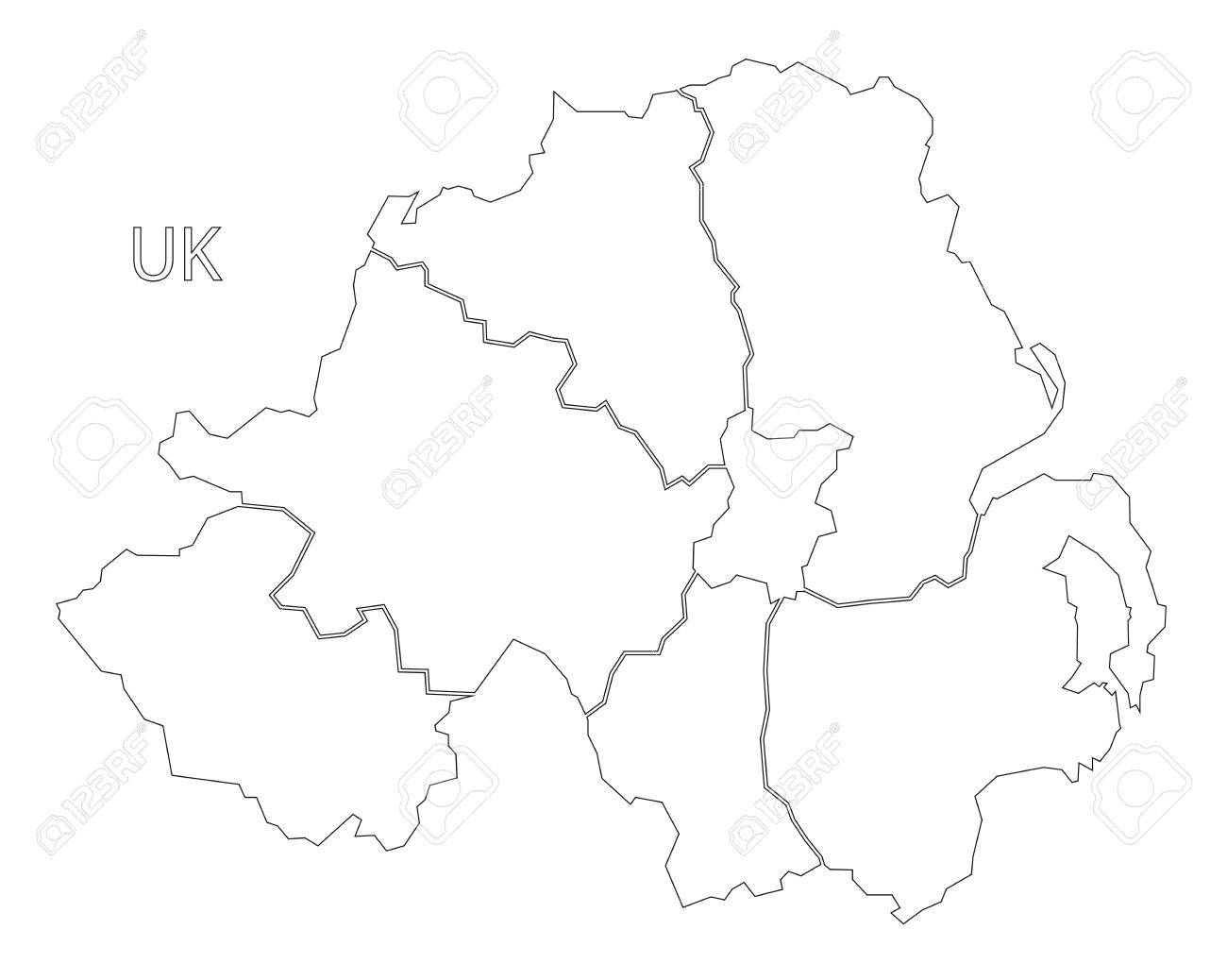 Image of: Northern Ireland Outline Silhouette Map Illustration With Counties Royalty Free Cliparts Vectors And Stock Illustration Image 75080270