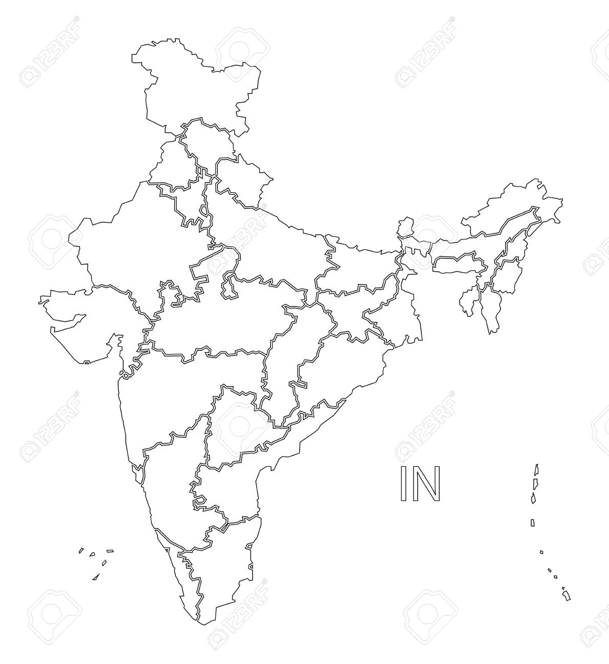 india map outline vector India Outline Silhouette Map Illustration With States Royalty india map outline vector