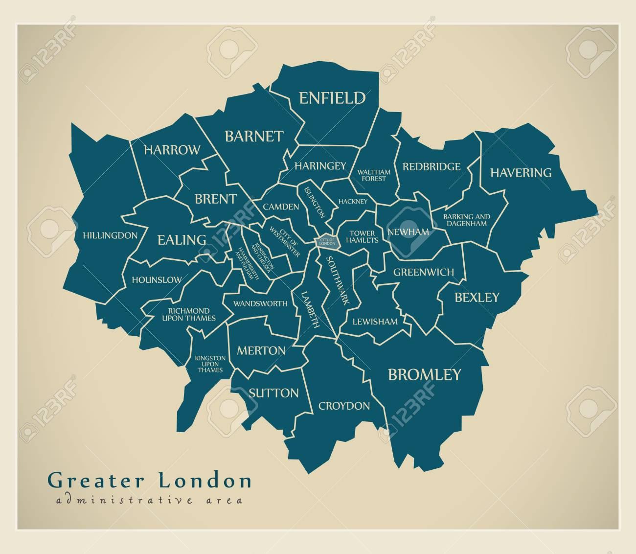 Map Of Greater London Area.Modern Map Greater London Labelled Districts Administrative