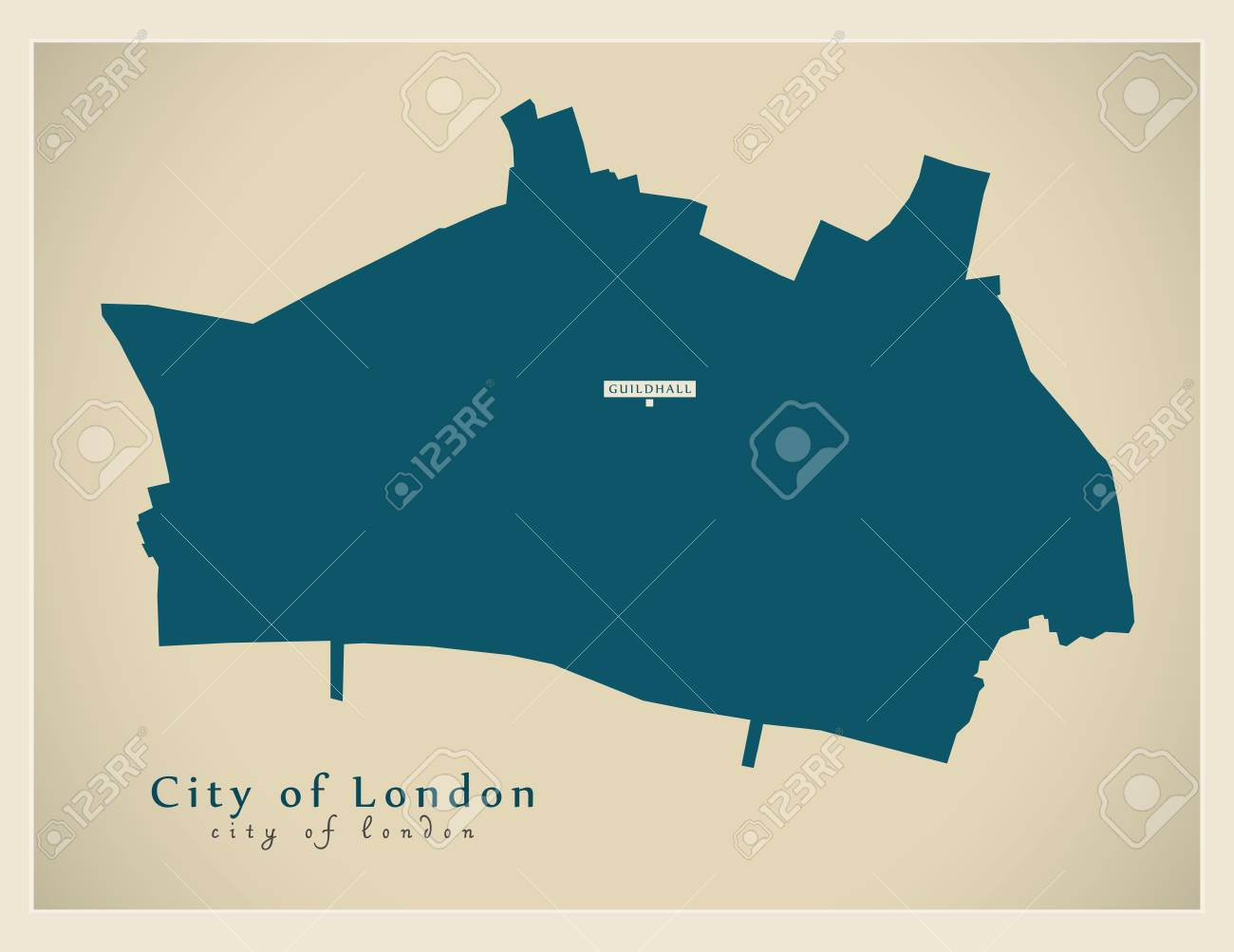 Modern Map - City of London borough Greater London UK England. - 75409939