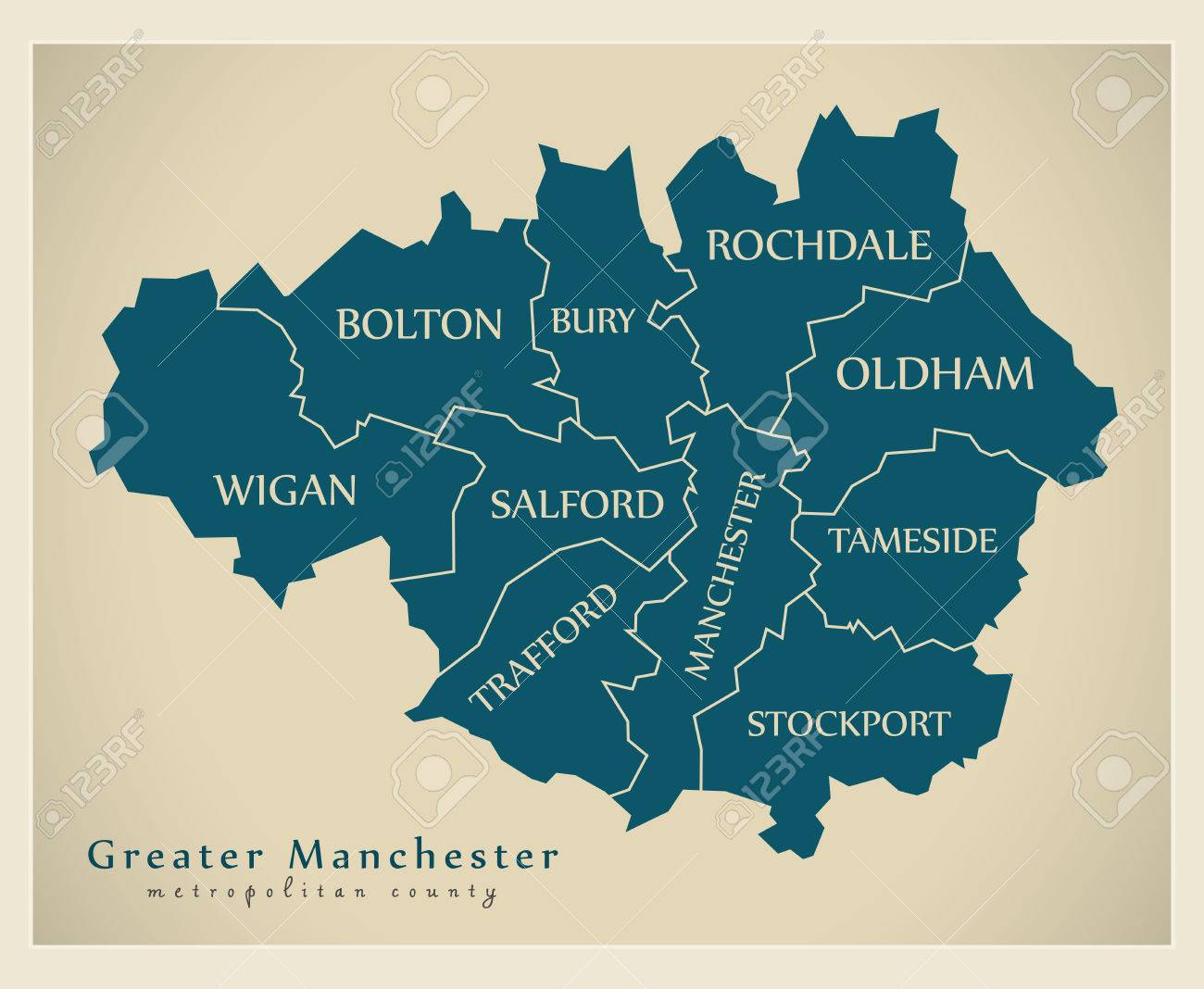 Modern Map - Greater Manchester Metropolitan County UK Royalty Free ...