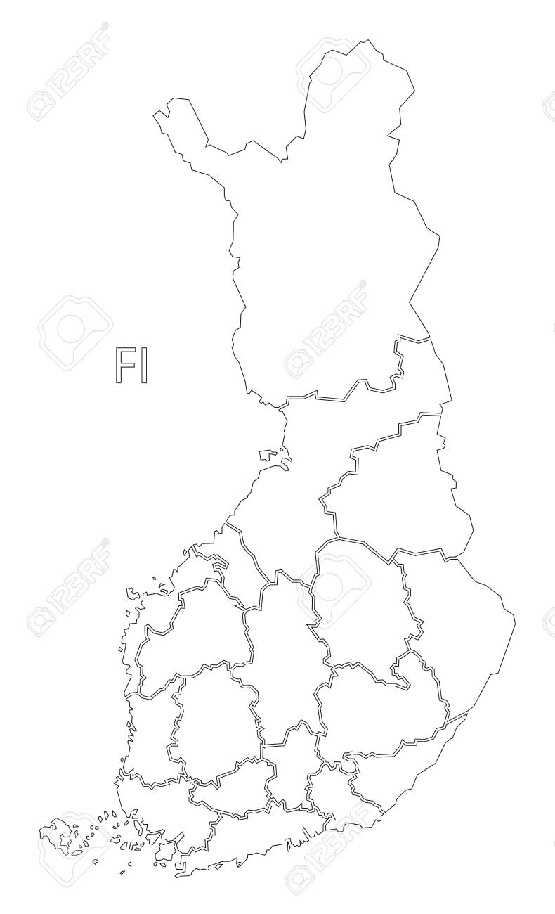 Finland outline silhouette map illustration with regions.