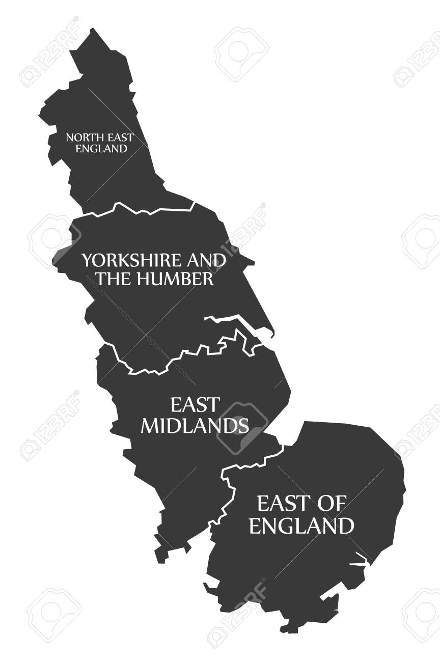 Map Of Uk North East.East Coast Of England With North East England Yorkshire East