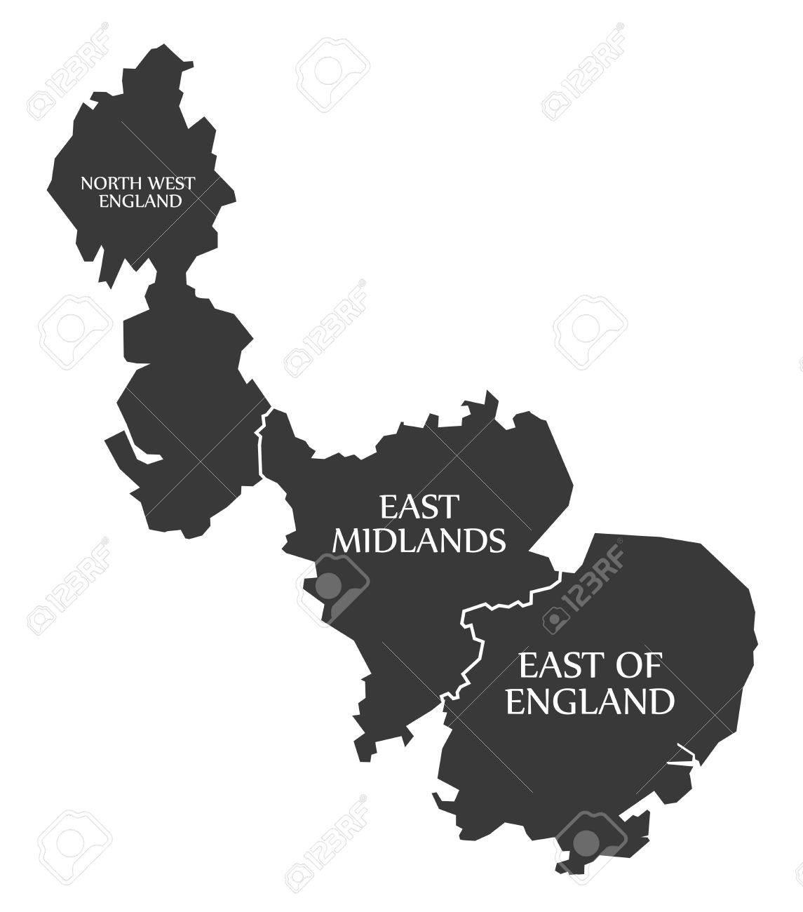 North West England East Midlands East Of England Map Uk