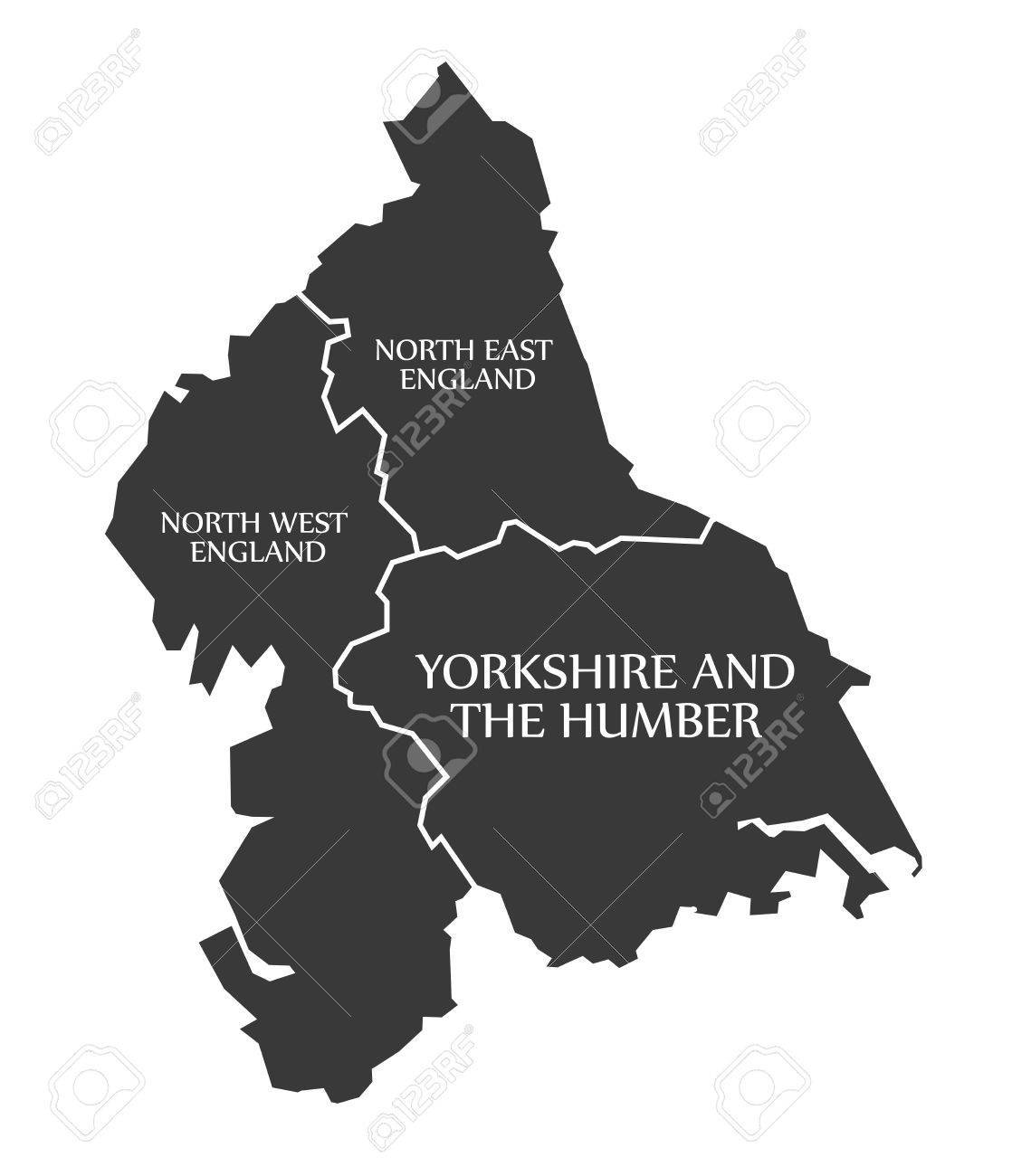 north east and north west england yorkshire and the humber map uk illustration stock vector