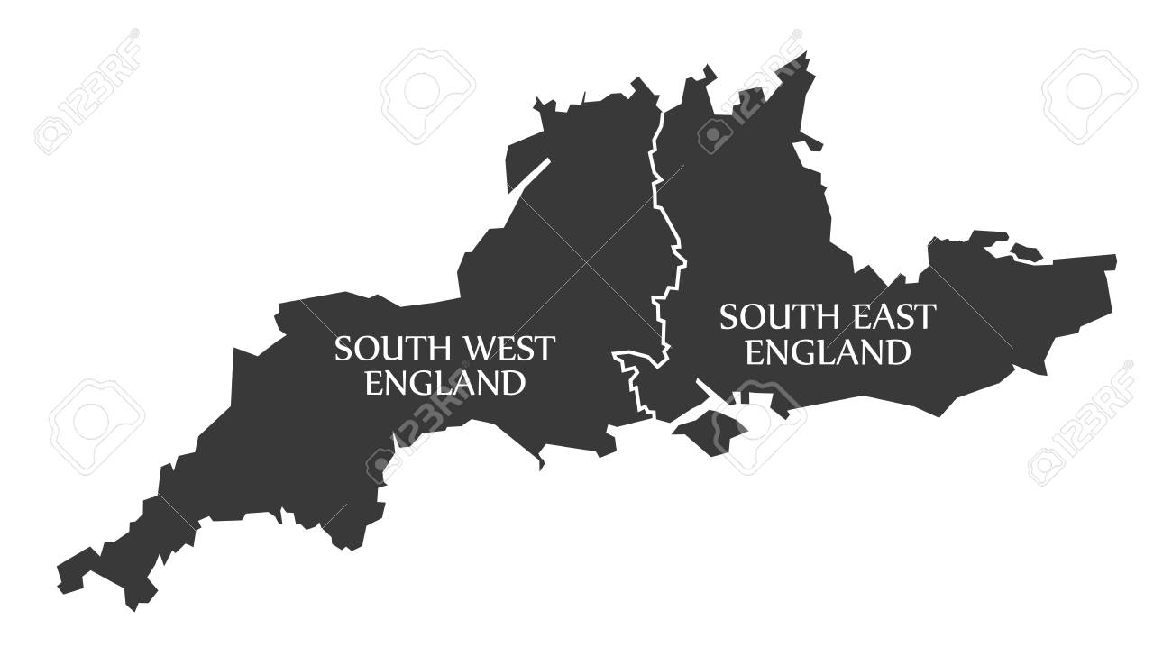 south west and south east england map uk illustration stock vector 76356263