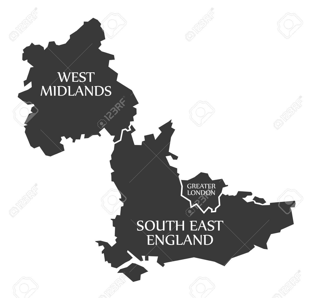 West Midlands Greater London South East England Map Uk