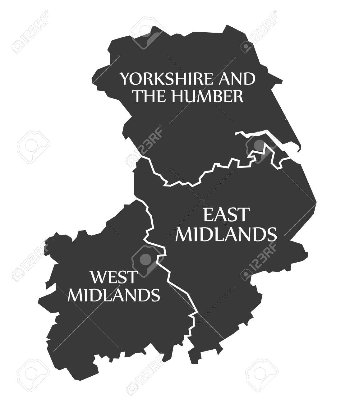 vector yorkshire and the humber east midlands west midlands map uk illustration