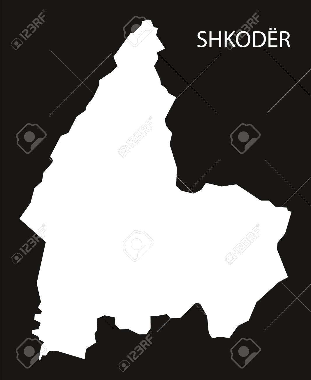 Shkoder Albania Map Black Inverted Silhouette Illustration Royalty