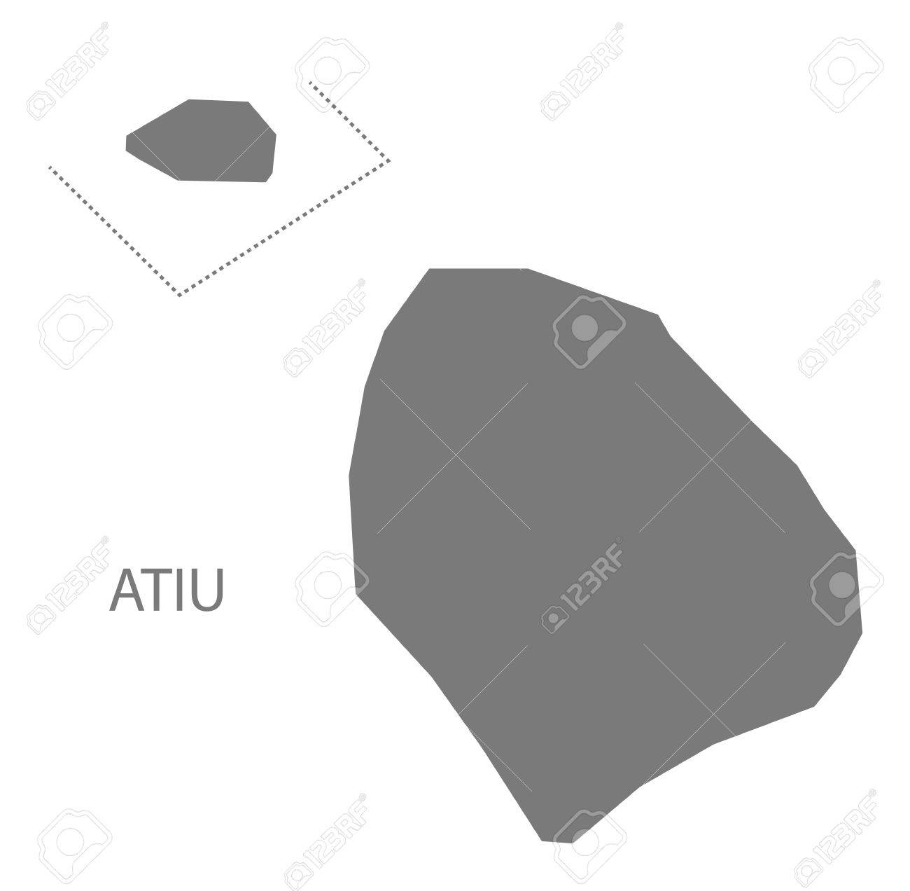Atiu Cook Islands Map Grey Illustration Silhouette Royalty Free