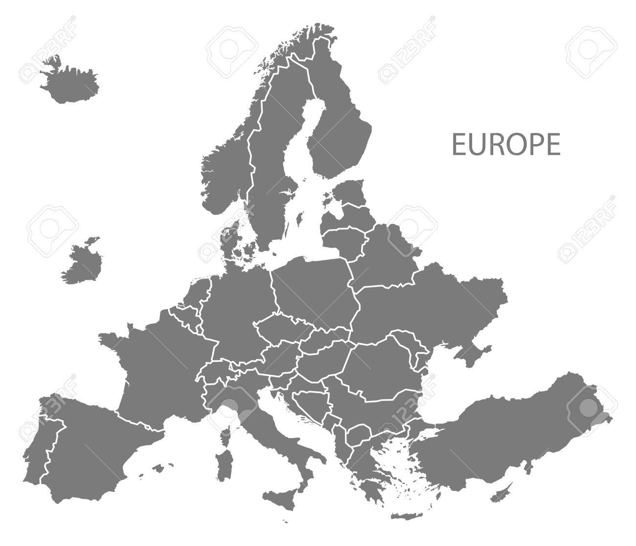 New Europe Map After Exit Of Britain With All Countries In Grey