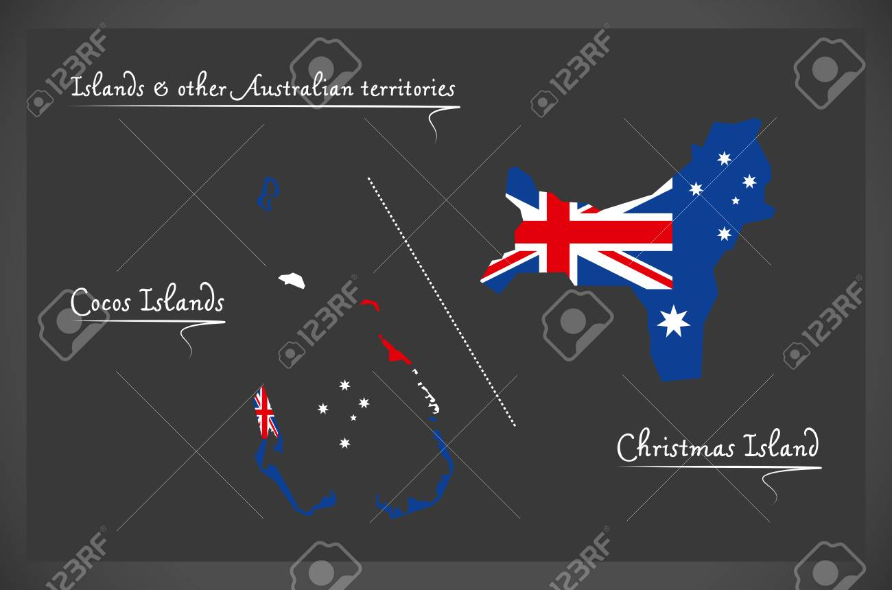 Cocos Islands And Christmas Island Map With Australian National