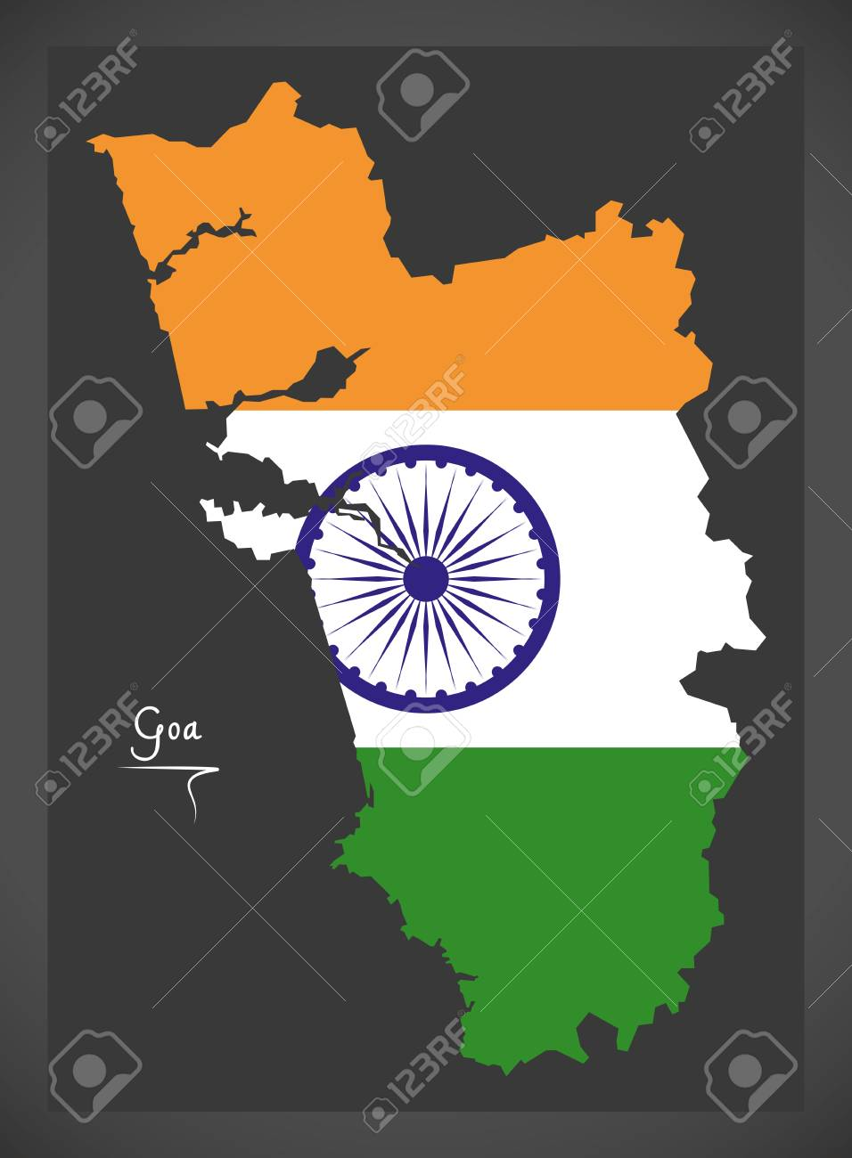Royalty Free Map%0A Goa map with Indian national flag illustration Stock Vector