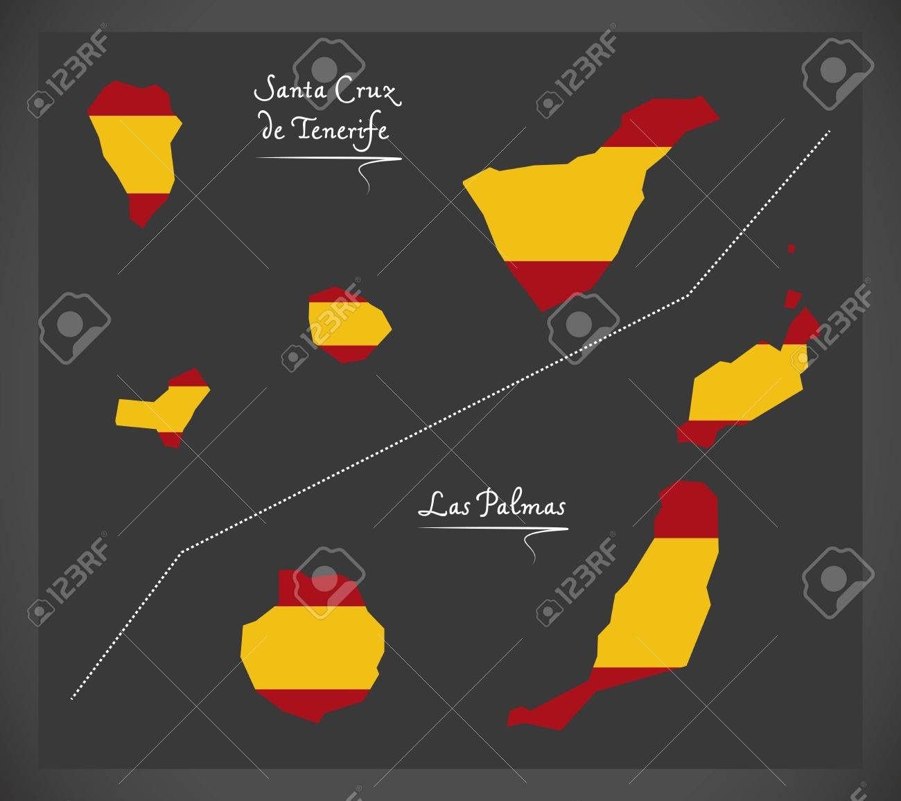 Map Of Spain Tenerife.Tenerife And Las Palmas Island Map With Spanish National Flag