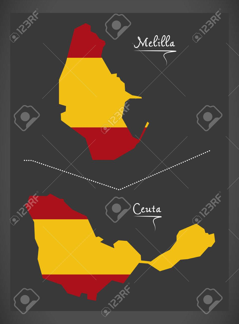 Melilla And Ceuta Map With Spanish National Flag Illustration ... on