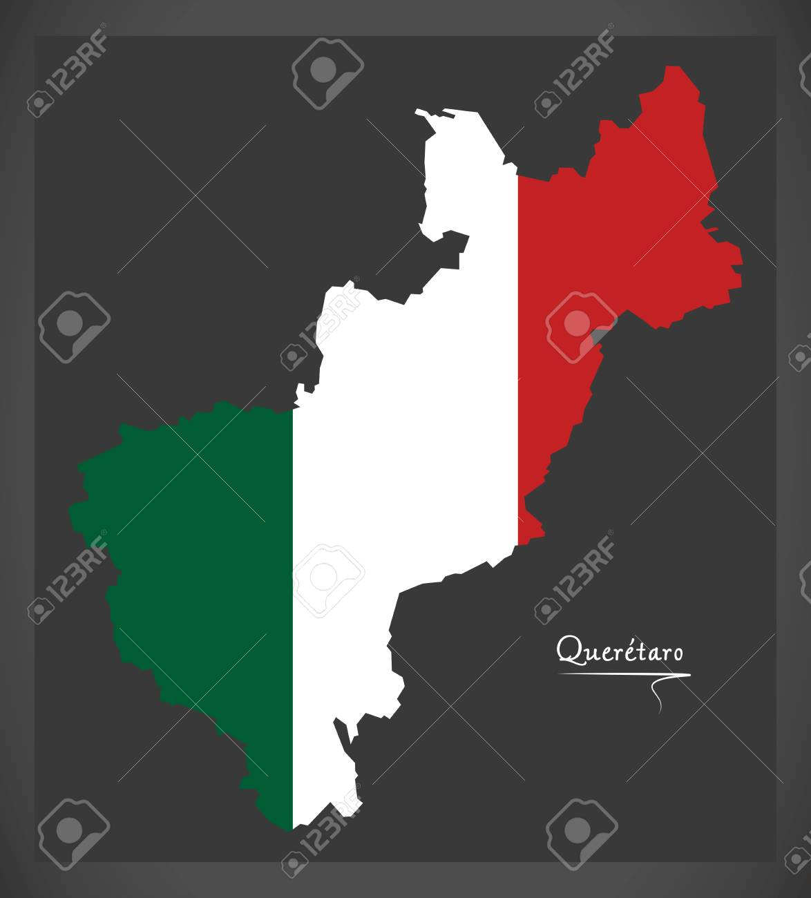 Queretaro Map With Mexican National Flag Illustration Royalty Free
