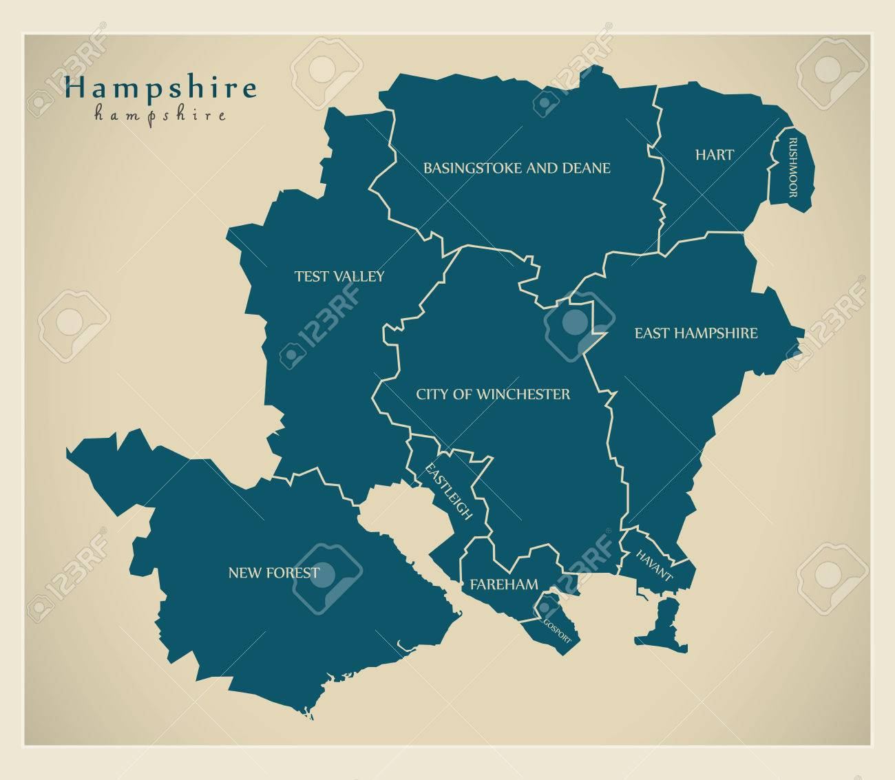 Map Of Uk Hampshire.Modern Map Hampshire County With District Labels Uk Illustration