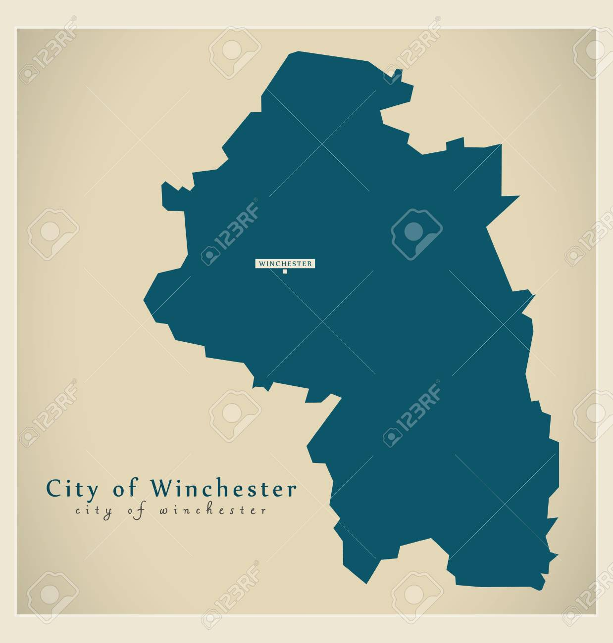 Modern Map City Of Winchester District Uk Illustration Royalty