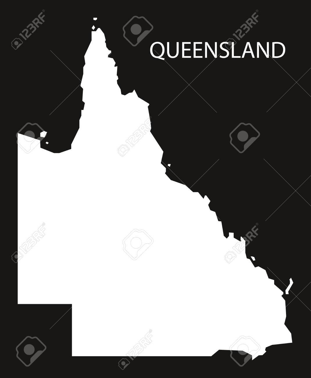 Map Queensland Australia.Queensland Australia Map Black Inverted Silhouette Illustration