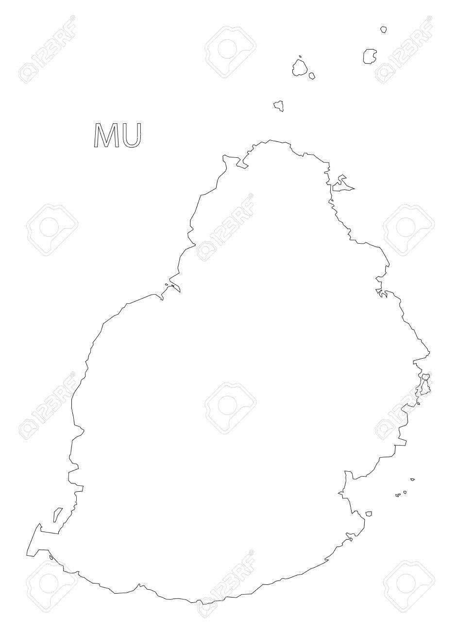Mauritius Outline Silhouette Map Illustration With Black Shape ...