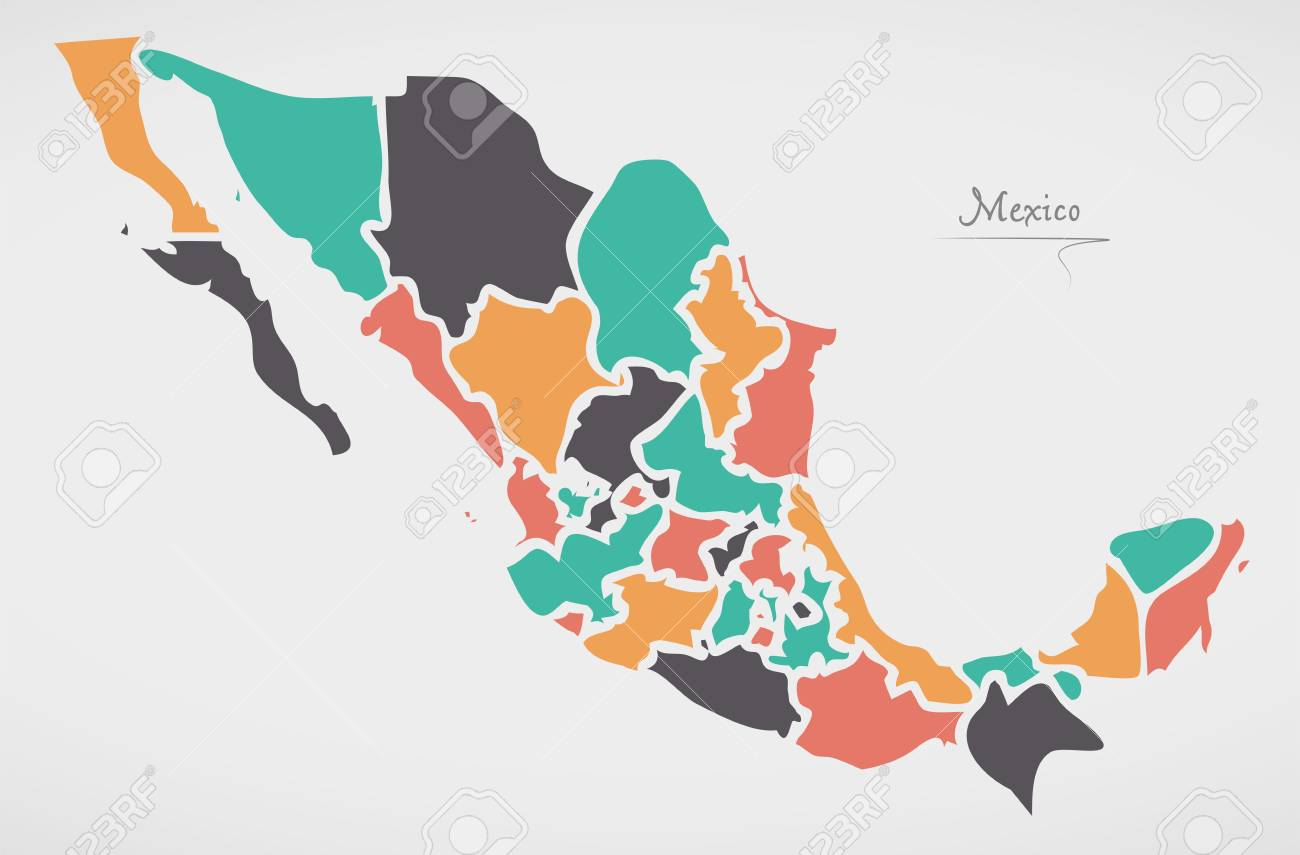 Mexican Map With States And Modern Round Shapes Royalty Free ...