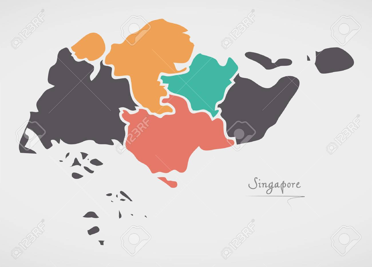 Singapore Map with states and modern round shapes - 80721611