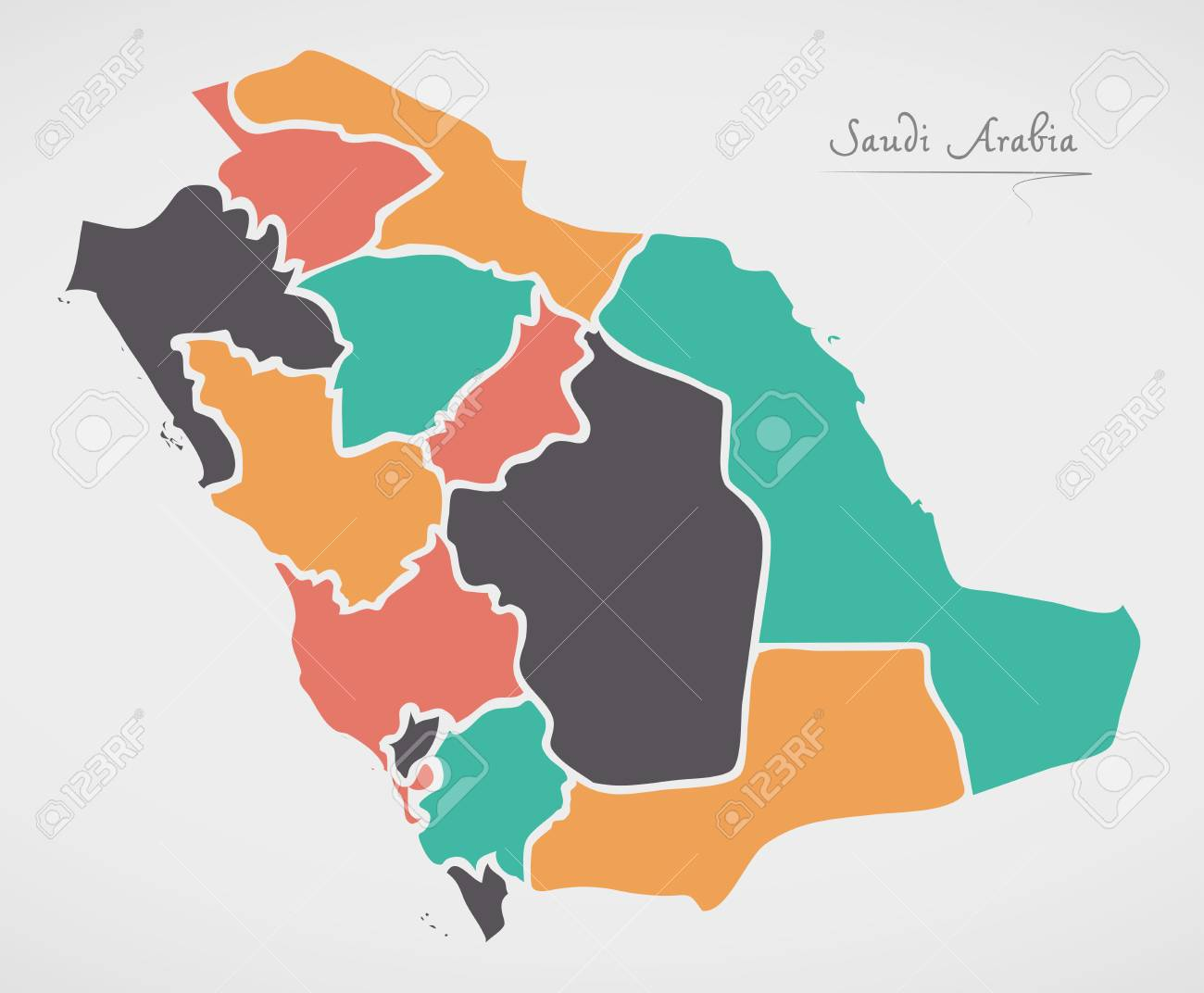 Saudi arabia map with states and modern round shapes royalty free saudi arabia map with states and modern round shapes stock vector 80784629 gumiabroncs Choice Image