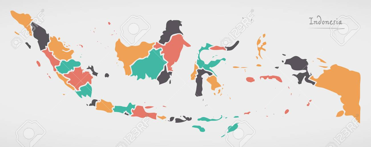 Indonesia Map With States And Modern Round Shapes Royalty Free Cliparts Vectors And Stock Illustration Image 80784632