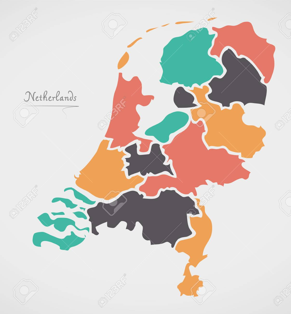 Netherlands map with states and modern round shapes royalty free netherlands map with states and modern round shapes stock vector 80784643 gumiabroncs Choice Image