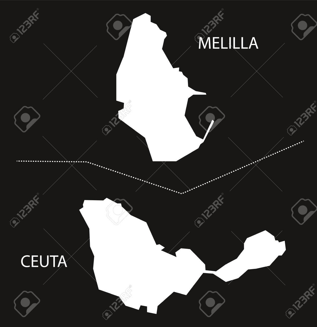Melilla Spain Map.Melilla And Ceuta Spain Map Black Inverted Silhouette Illustration