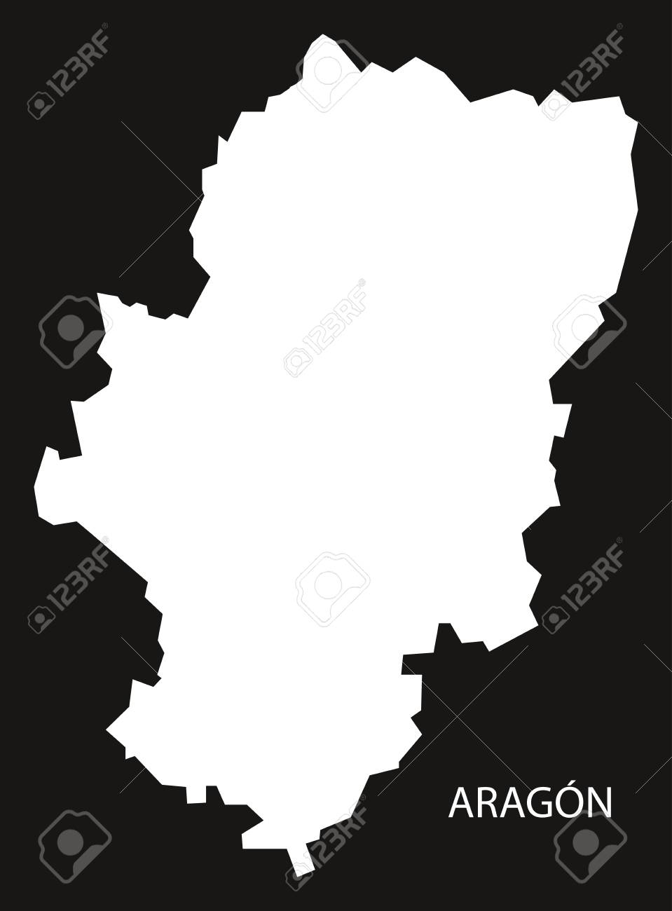 Aragon Spain Map Black Inverted Silhouette Illustration Royalty