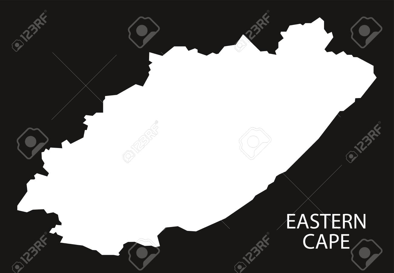 Africa Map Silhouette Vector.Eastern Cape Of South Africa Map Black Inverted Silhouette Illustration