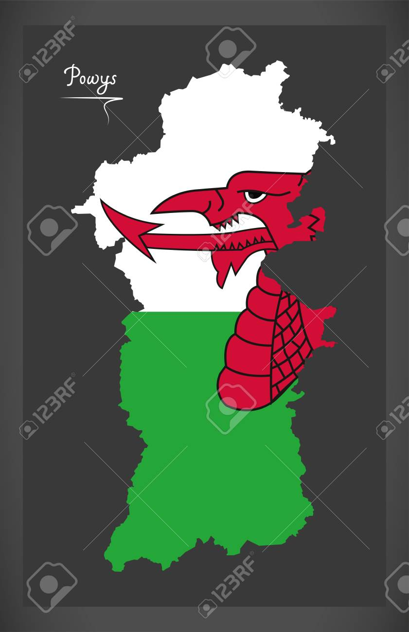 Powys Wales map with Welsh national flag