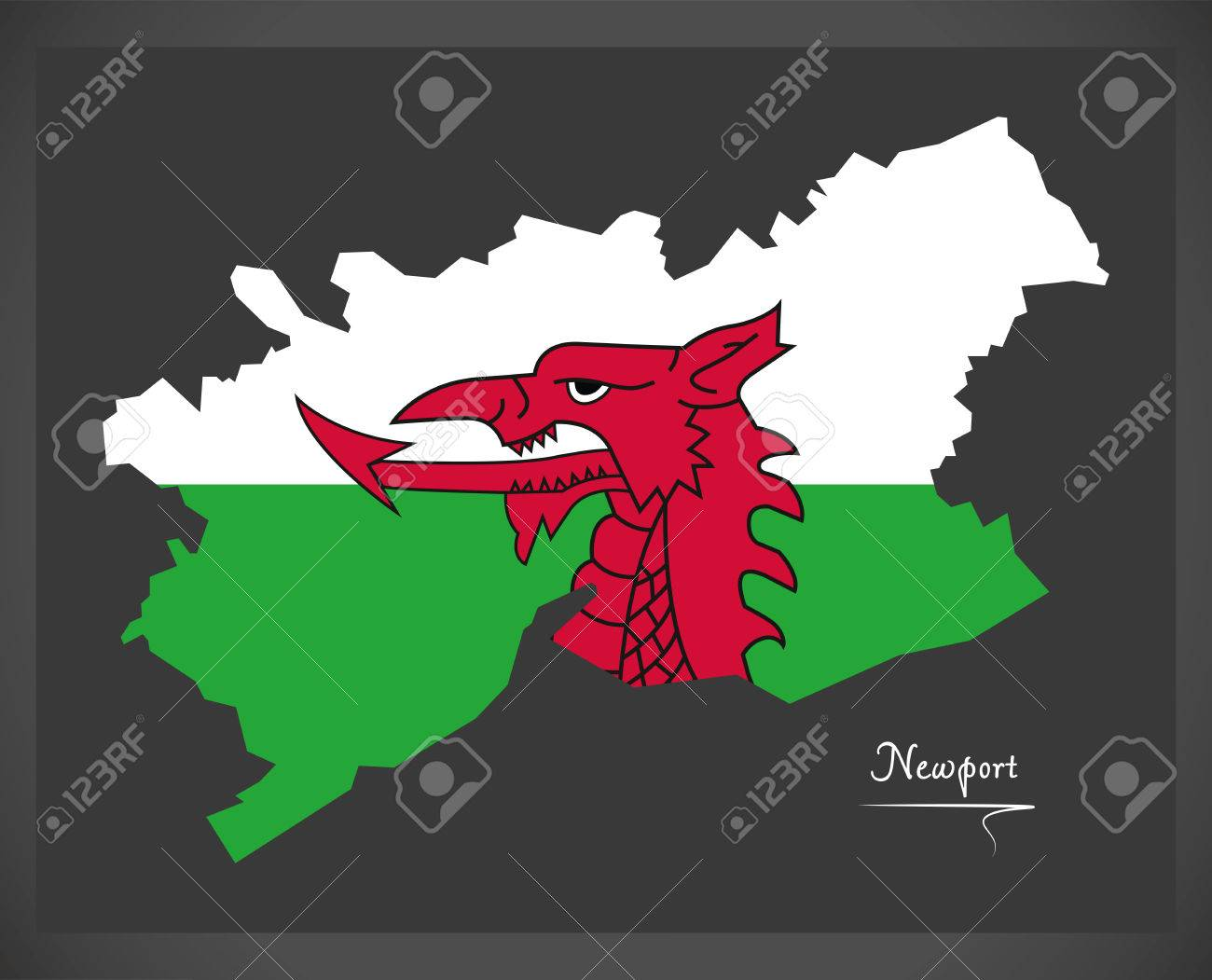 Royalty Free Map%0A Newport Wales map with Welsh national flag illustration Stock Vector