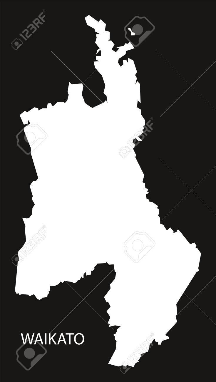 Waikato New Zealand Map.Waikato New Zealand Map Black Inverted Silhouette Illustration