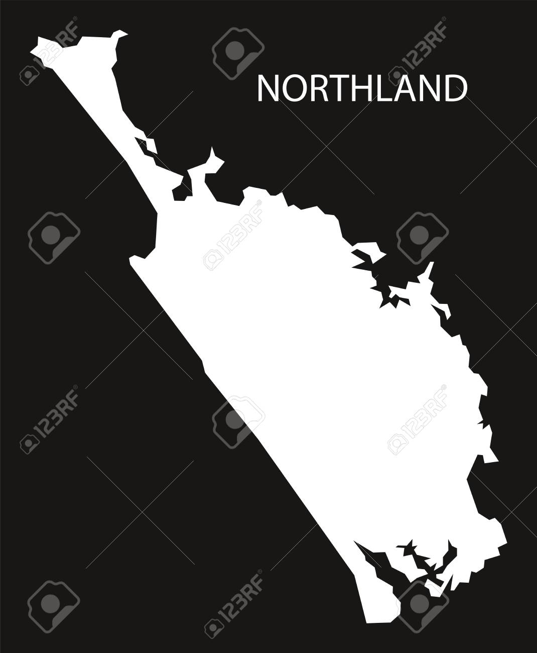 Northland New Zealand Map.Northland New Zealand Map Black Inverted Silhouette Illustration